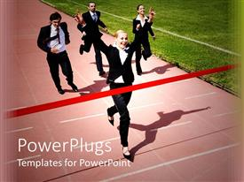 PowerPlugs: PowerPoint template with a number of professionals on a race track