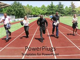 PowerPlugs: PowerPoint template with a number of professionals running on the track