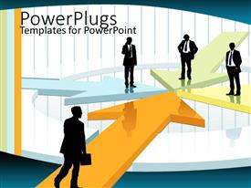 PowerPlugs: PowerPoint template with a number of professionals standing on different places