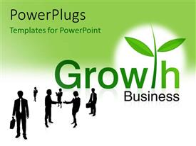PowerPoint template displaying a number of professionals with the word growth