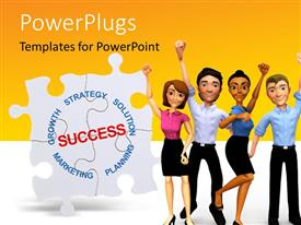 PowerPoint template displaying a number of professionals with the word success