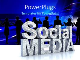 PowerPlugs: PowerPoint template with a number of professionals with the words social media