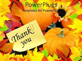 PowerPlugs: PowerPoint template with a number of pumpkins and leaves together