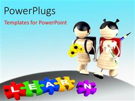 PowerPlugs: PowerPoint template with a number of puzzle pieces with bluish background and place for text