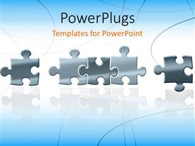 PowerPlugs: PowerPoint template with a number of puzzle pieces with bluish background