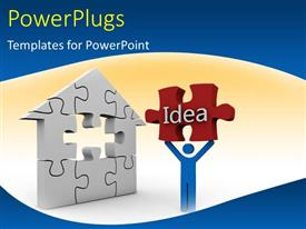 PowerPoint template displaying a number of puzzle pieces with a person carrying an idea