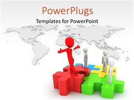 PowerPlugs: PowerPoint template with a number of puzzle pieces with person and map in background