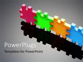 PowerPlugs: PowerPoint template with a number of puzzle pieces with their shadows and grayish background