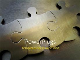PowerPlugs: PowerPoint template with a number of puzzle pieces together with wooden background