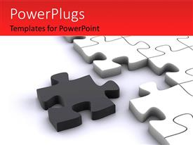 PowerPoint template displaying a number of puzzle pieces with white background