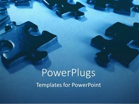 PowerPlugs: PowerPoint template with a number of puzzles with a bluish background