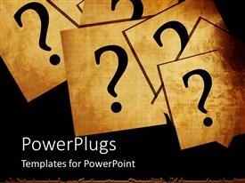 PowerPlugs: PowerPoint template with a number of question marks being put on different cards