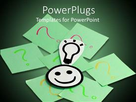 PowerPlugs: PowerPoint template with a number of question marks and a smiley