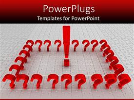 PowerPlugs: PowerPoint template with a number of question marks together with red background