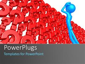 PowerPlugs: PowerPoint template with a number of question marks with white background