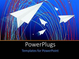 PowerPlugs: PowerPoint template with a number of red spirals with paper airplanes