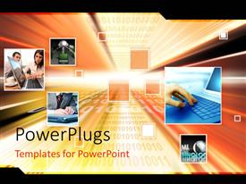 PowerPlugs: PowerPoint template with a number of representations of technology with binary numbers in background