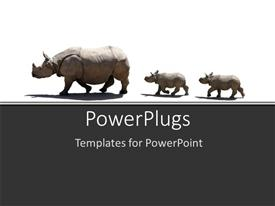 PowerPlugs: PowerPoint template with a number of rhinoceros in a line