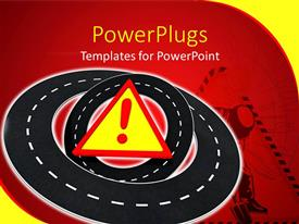 PowerPlugs: PowerPoint template with a number roads with a warning symbol