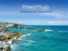 PowerPoint template displaying a number of rocks in the sea