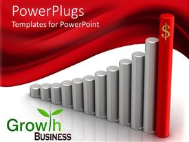 PowerPoint template displaying a number of rods making the growth table
