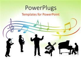 PowerPlugs: PowerPoint template with a number rof people producing music together with music signs in the background