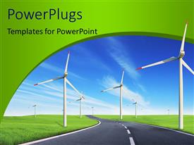 PowerPlugs: PowerPoint template with a number rof windmills along the road with sky in the background
