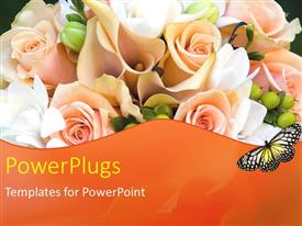 PowerPlugs: PowerPoint template with a number of roses with blackish background