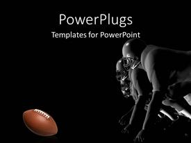 PowerPlugs: PowerPoint template with a number of rugby players trying to catch the ball