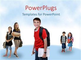 PowerPlugs: PowerPoint template with a number of school going kids with clear sky in the background
