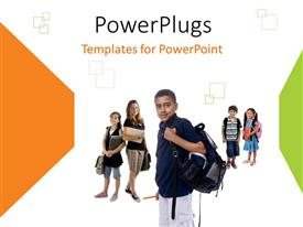 PowerPlugs: PowerPoint template with a number of school going kids with white background