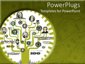 PowerPlugs: PowerPoint template with a number of scientist together with dollar notes in the background