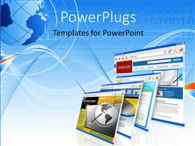PowerPlugs: PowerPoint template with a number of screens with bluish background and a globe