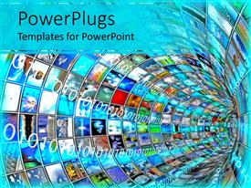 PowerPlugs: PowerPoint template with a number of screens creating a tunnel with bluish background