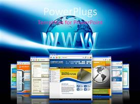 PowerPlugs: PowerPoint template with a number of screens with a globe in the background