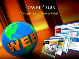 PowerPlugs: PowerPoint template with a number of screens and the globe with the word web