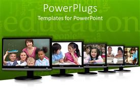 PowerPlugs: PowerPoint template with a number of screens with greenish background