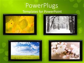 PowerPoint template displaying a number of screens with greenish background