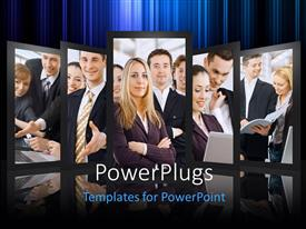 PowerPlugs: PowerPoint template with a number of screens with professionals