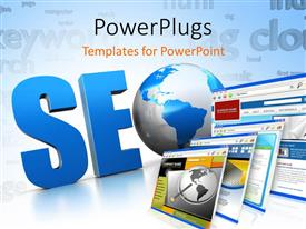 PowerPlugs: PowerPoint template with a number of screens with the word SEO