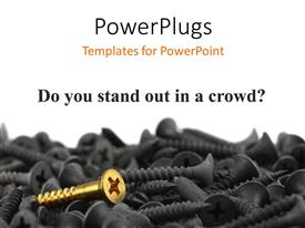 PowerPlugs: PowerPoint template with a number of screws with a golden on in them