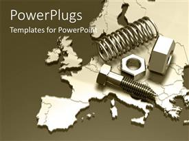 PowerPlugs: PowerPoint template with a number of screws and nut bolts with map in the bckground