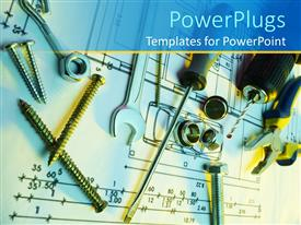 PowerPoint template displaying a number of screws, screw drivers and nails placed on a piece of paper