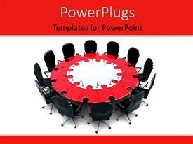 PowerPlugs: PowerPoint template with a number of seats with a table in the middle