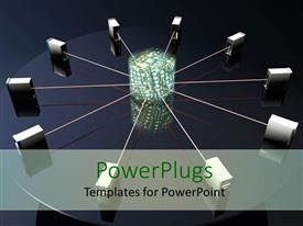 PowerPlugs: PowerPoint template with a number of servers connected together through the same source