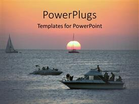 PowerPoint template displaying a number of ships in the sea with sunset in the background