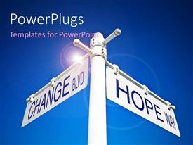 PowerPlugs: PowerPoint template with a number of signs with a bluish background