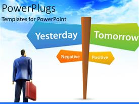 PowerPoint template displaying a number of signs with bluish background