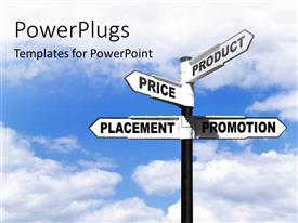 PowerPlugs: PowerPoint template with a number of signs with clouds in the background