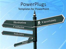 PowerPoint template displaying a number of signs of confused state of mind